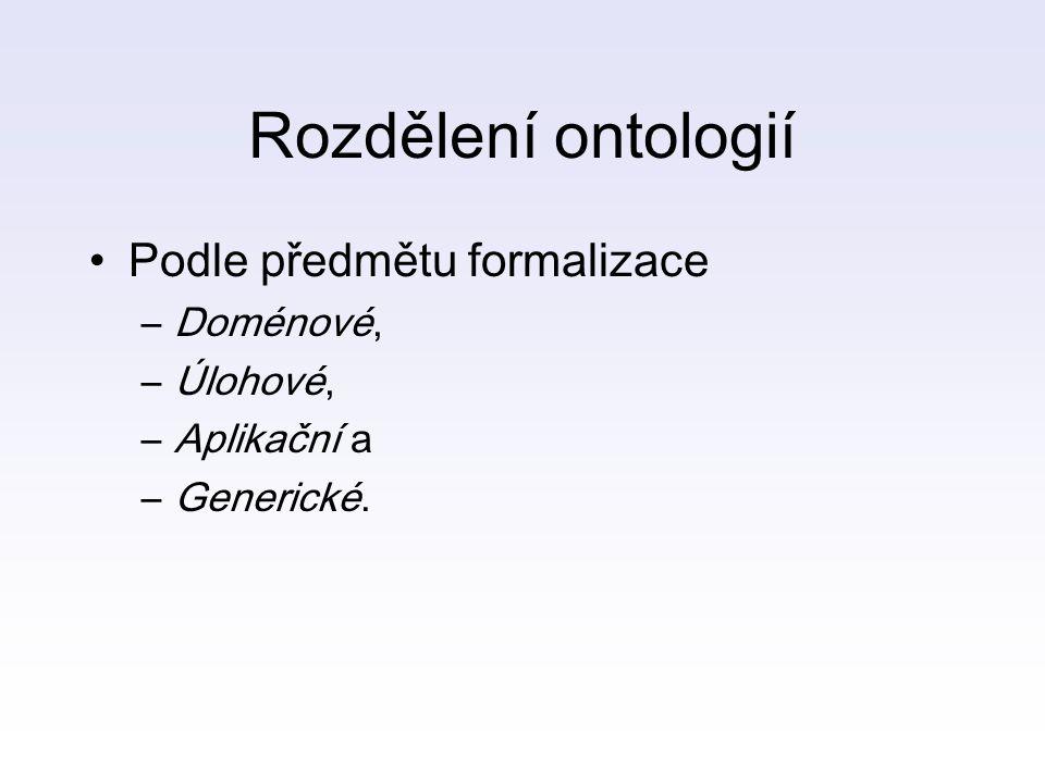 Rozdělení ontologií Podle předmětu formalizace Doménové, Úlohové,