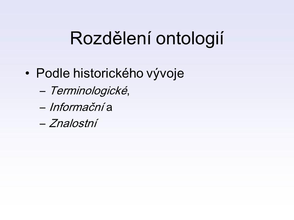 Rozdělení ontologií Podle historického vývoje Terminologické,