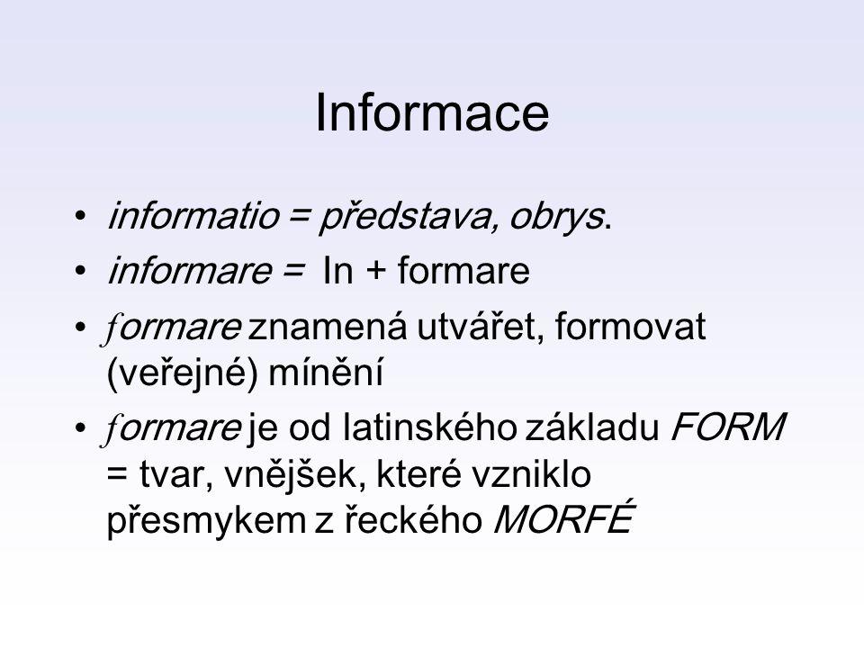 Informace informatio = představa, obrys. informare = In + formare