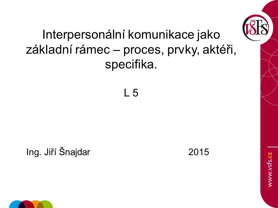 Interpersonální komunikace jako základní rámec – proces, prvky, aktéři, specifika.