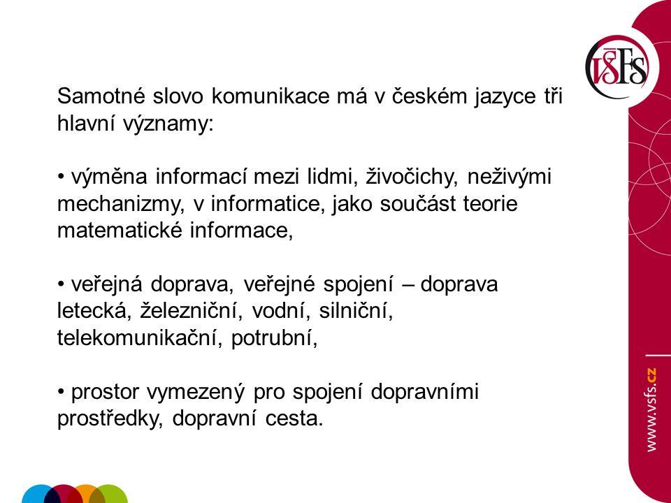 Samotné slovo komunikace má v českém jazyce tři hlavní významy:
