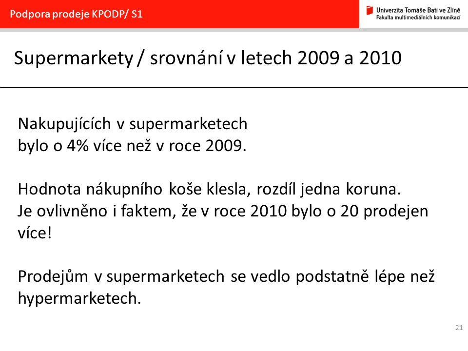 Supermarkety / srovnání v letech 2009 a 2010