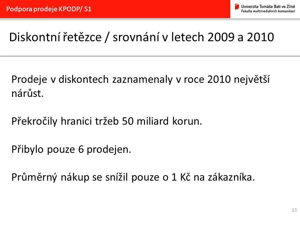 Diskontní řetězce / srovnání v letech 2009 a 2010