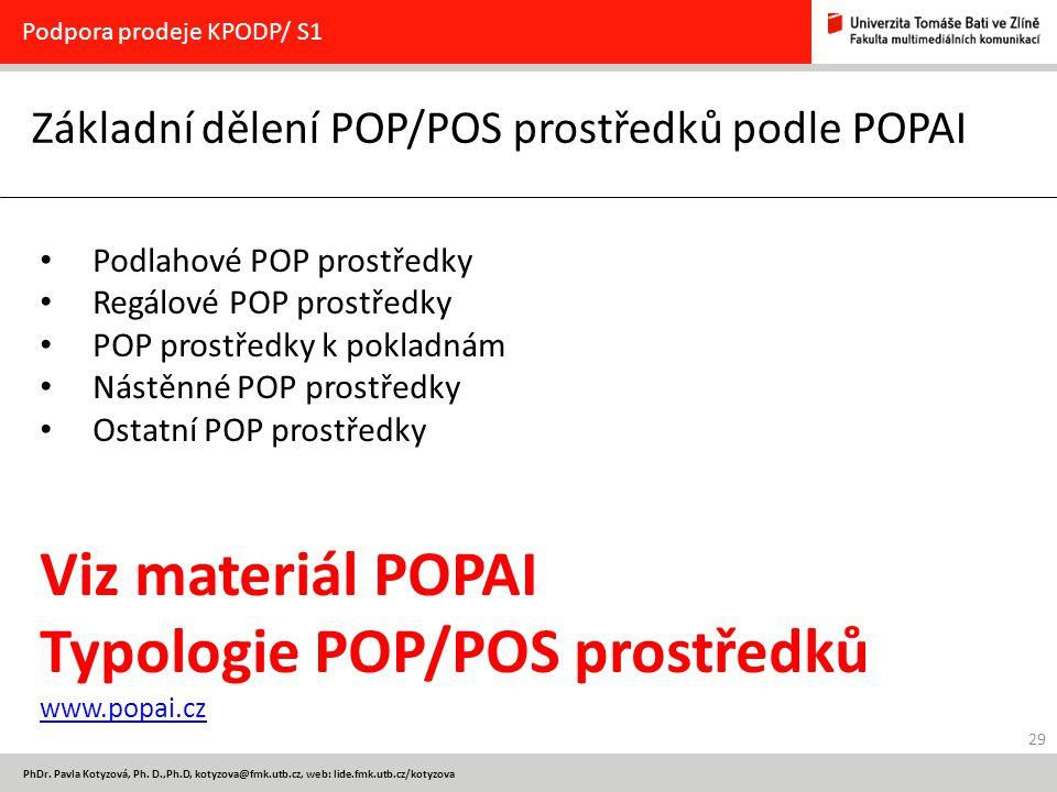 Základní dělení POP/POS prostředků podle POPAI