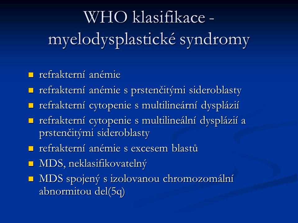 WHO klasifikace - myelodysplastické syndromy