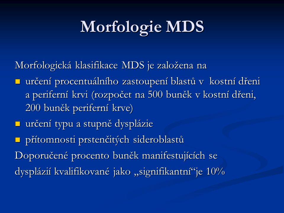 Morfologie MDS Morfologická klasifikace MDS je založena na