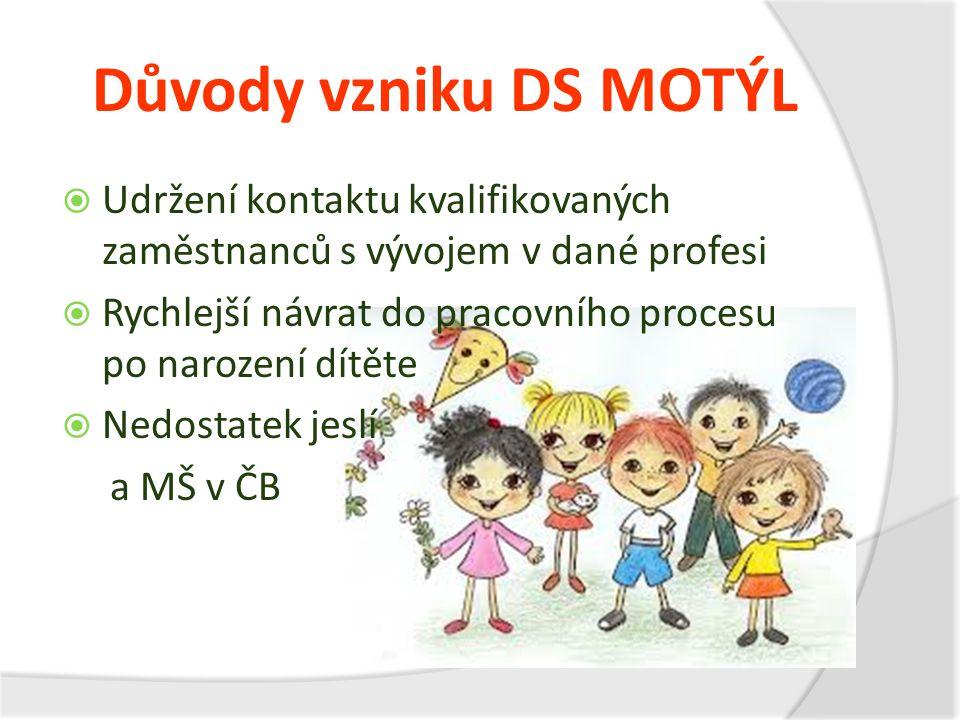 Důvody vzniku DS MOTÝL Udržení kontaktu kvalifikovaných zaměstnanců s vývojem v dané profesi.