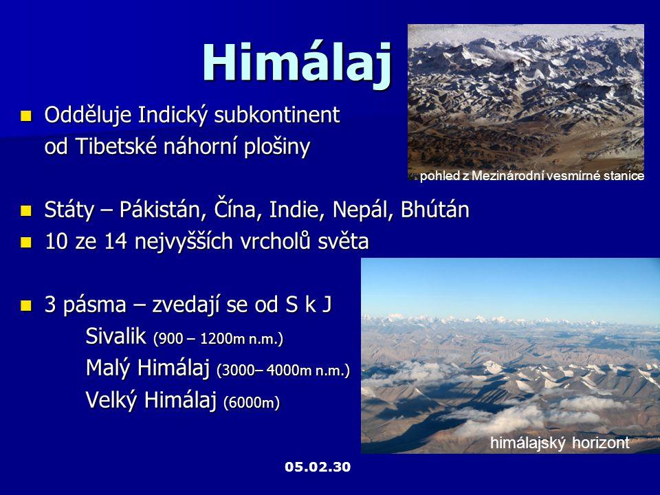 Himálaj Odděluje Indický subkontinent od Tibetské náhorní plošiny