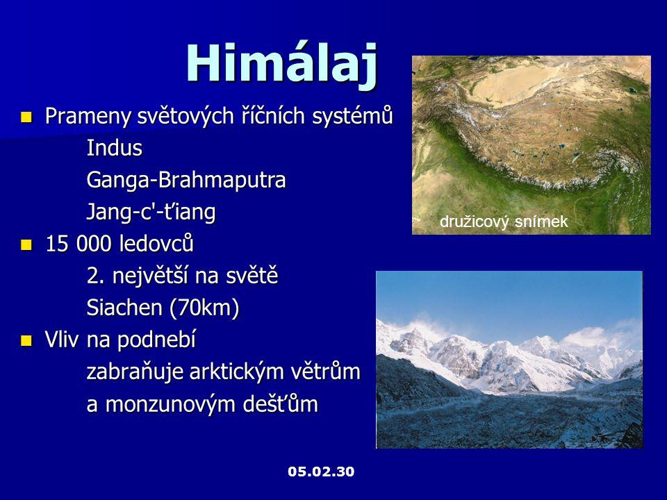 Himálaj Prameny světových říčních systémů Indus Ganga-Brahmaputra
