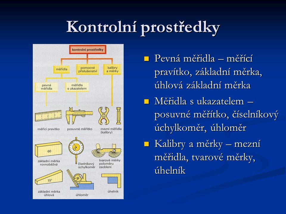 Kontrolní prostředky Pevná měřidla – měřící pravítko, základní měrka, úhlová základní měrka.