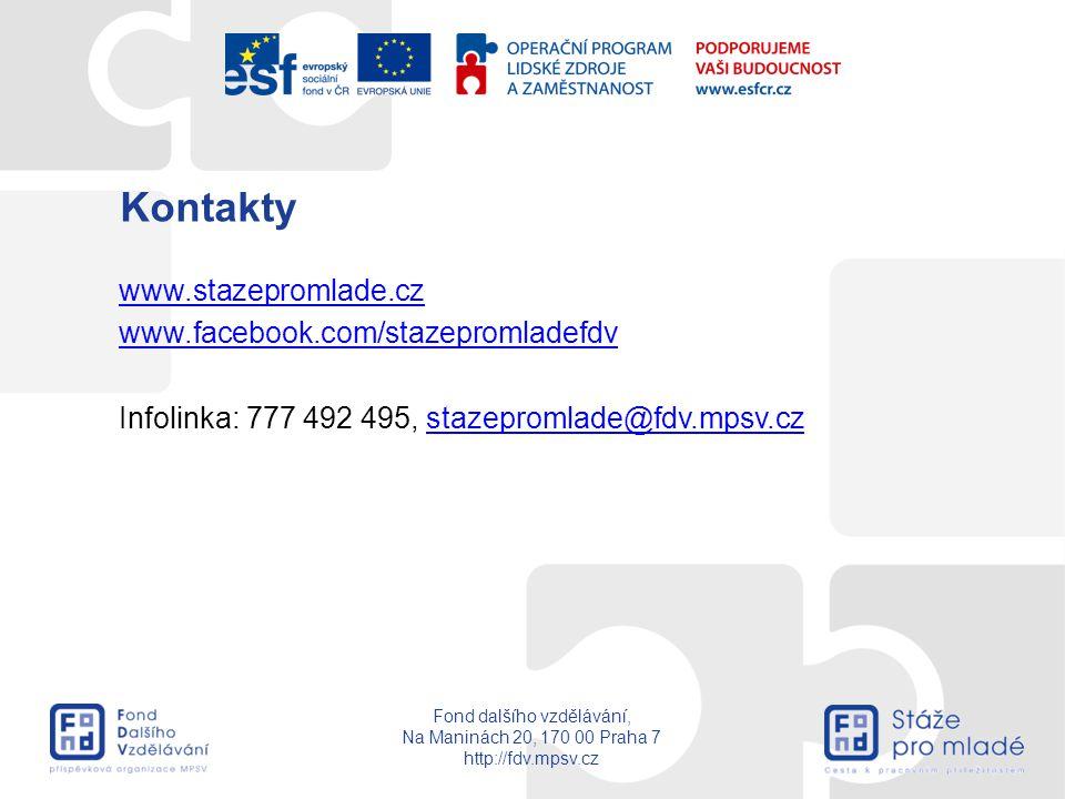 Kontakty www.stazepromlade.cz www.facebook.com/stazepromladefdv