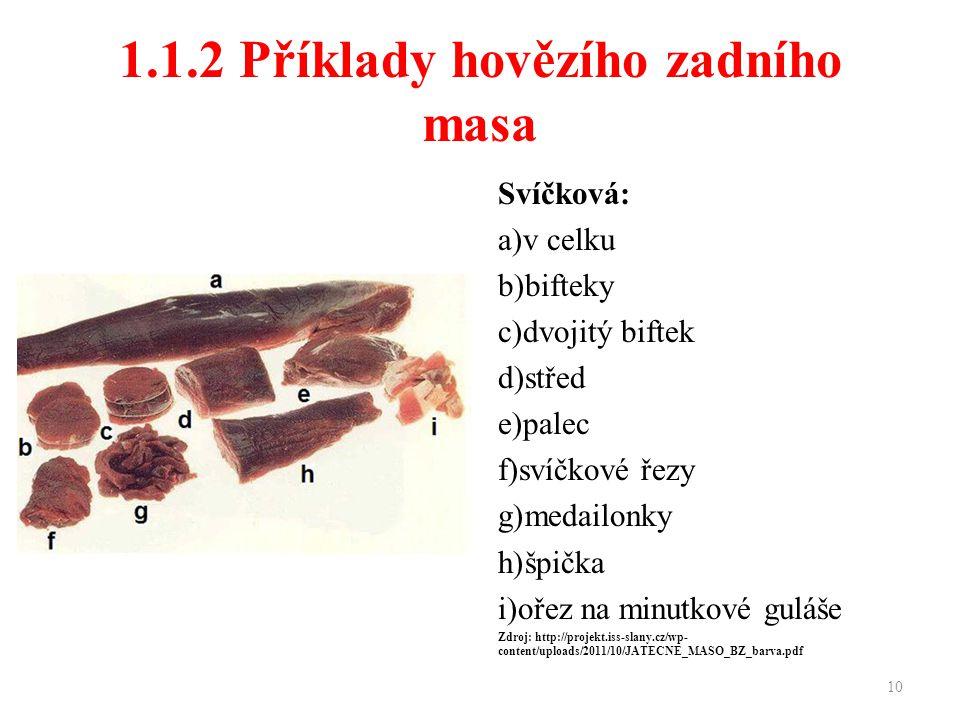 1.1.2 Příklady hovězího zadního masa
