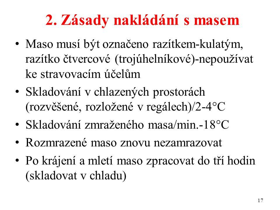 2. Zásady nakládání s masem