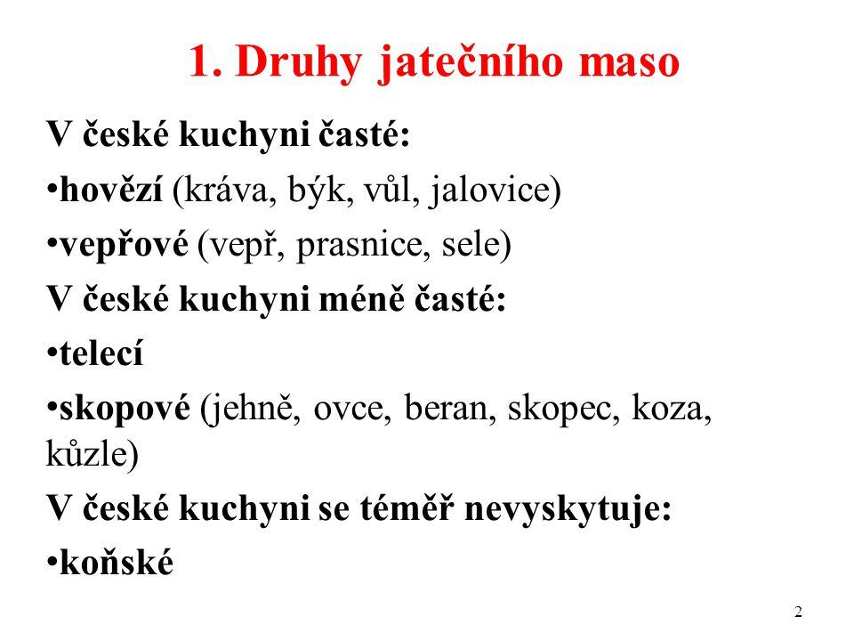 1. Druhy jatečního maso V české kuchyni časté:
