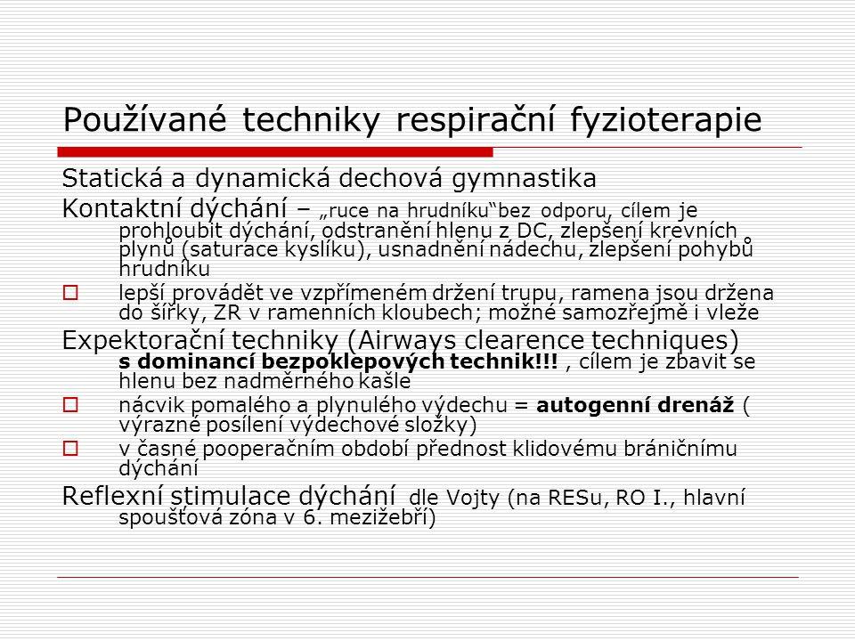 Používané techniky respirační fyzioterapie