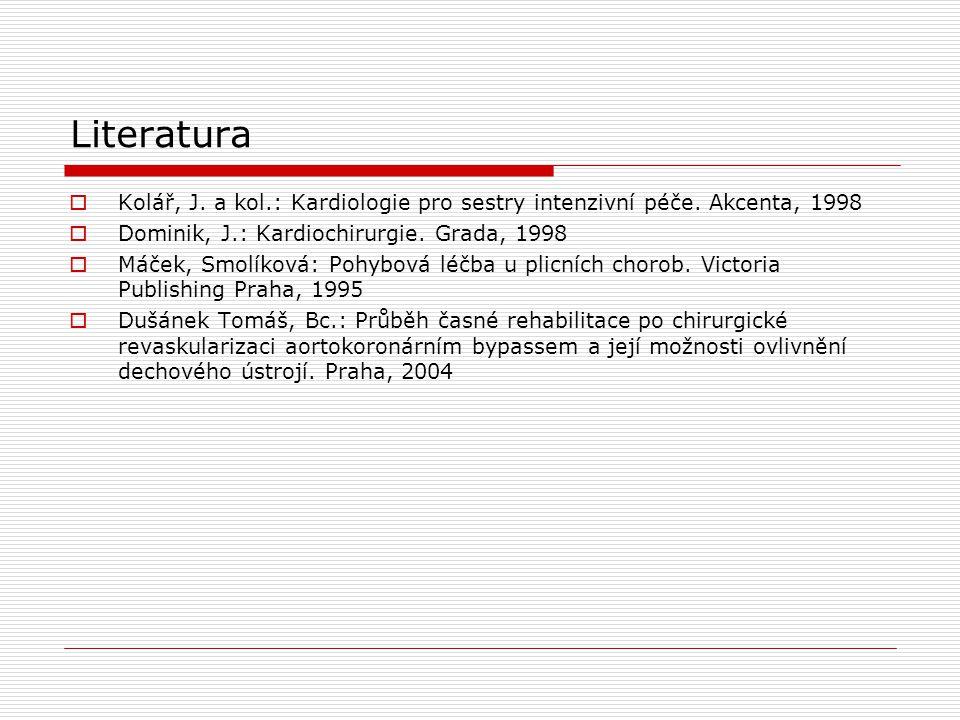 Literatura Kolář, J. a kol.: Kardiologie pro sestry intenzivní péče. Akcenta, 1998. Dominik, J.: Kardiochirurgie. Grada, 1998.