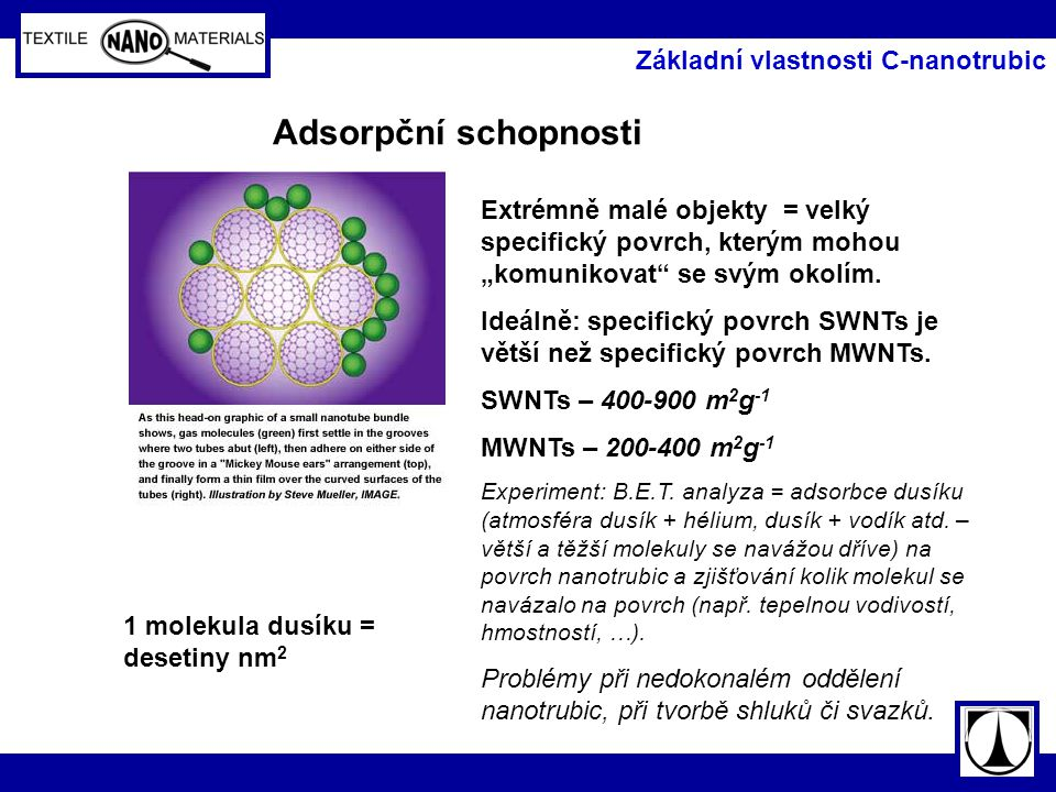 Adsorpční schopnosti Základní vlastnosti C-nanotrubic