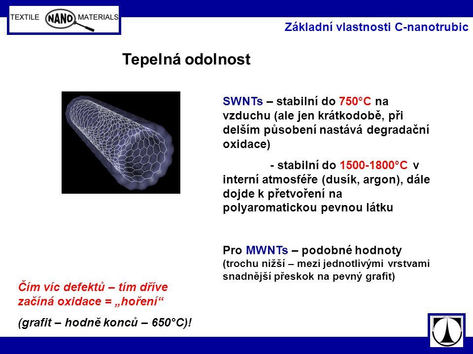 Tepelná odolnost Základní vlastnosti C-nanotrubic