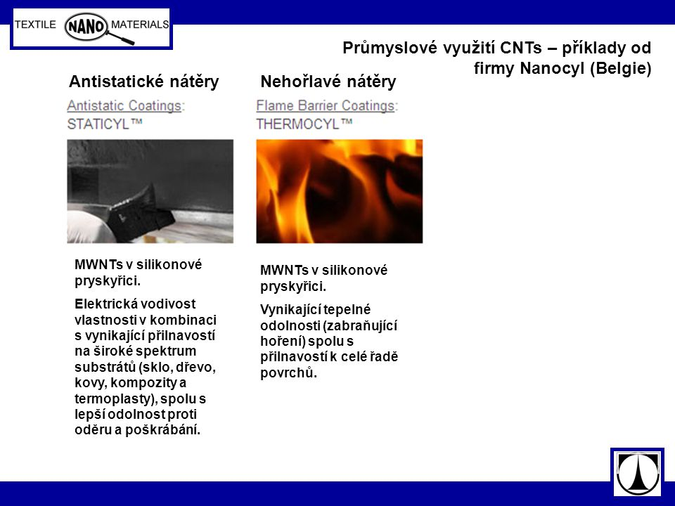 Průmyslové využití CNTs – příklady od firmy Nanocyl (Belgie)