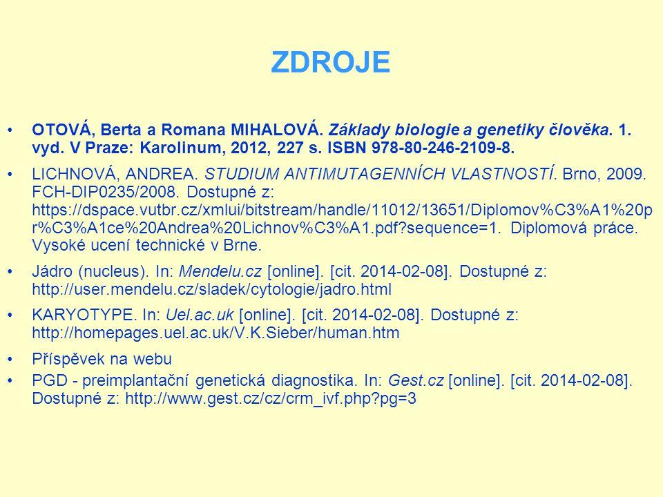 ZDROJE OTOVÁ, Berta a Romana MIHALOVÁ. Základy biologie a genetiky člověka. 1. vyd. V Praze: Karolinum, 2012, 227 s. ISBN 978-80-246-2109-8.