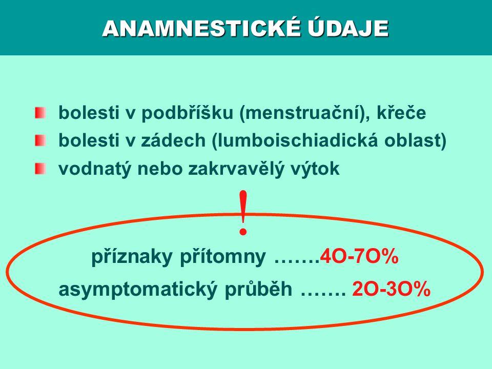 ! ANAMNESTICKÉ ÚDAJE příznaky přítomny …….4O-7O%