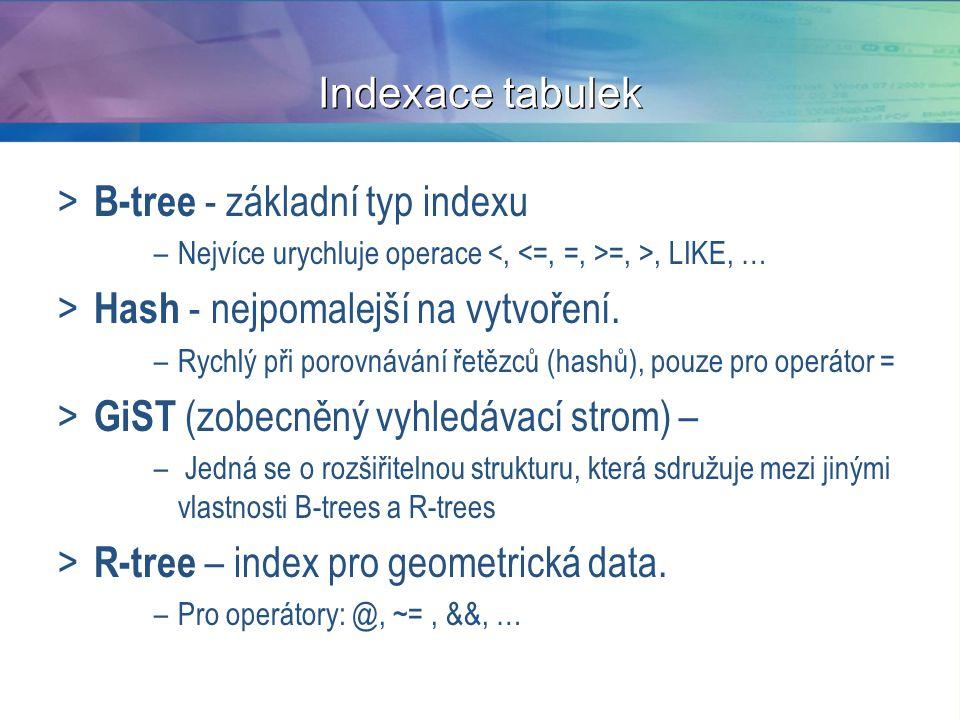 B-tree - základní typ indexu Hash - nejpomalejší na vytvoření.
