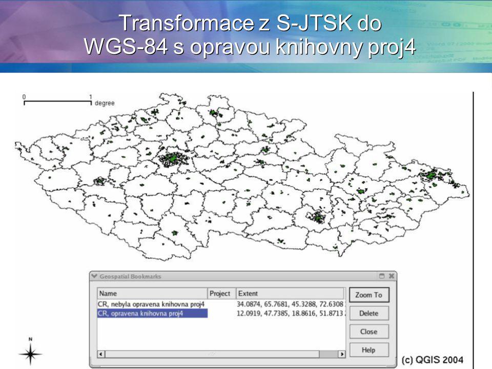 Transformace z S-JTSK do WGS-84 s opravou knihovny proj4