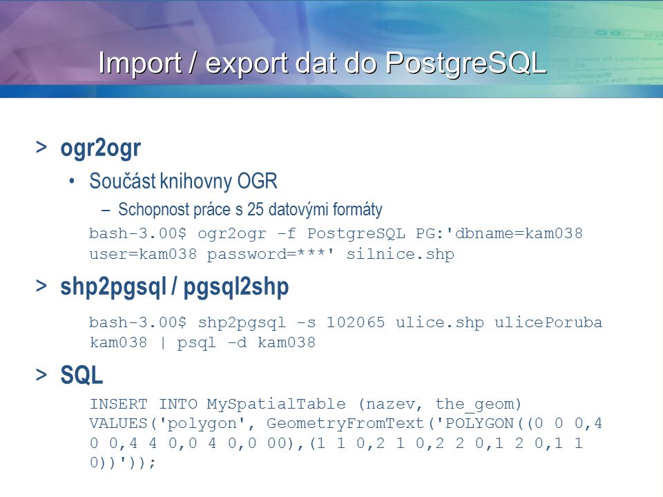Import / export dat do PostgreSQL