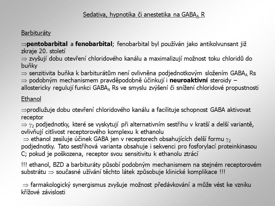 Sedativa, hypnotika či anestetika na GABAA R