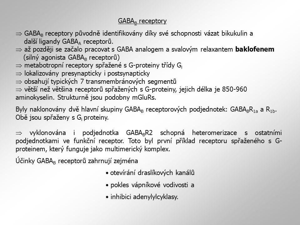 Účinky GABAB receptorů zahrnují zejména