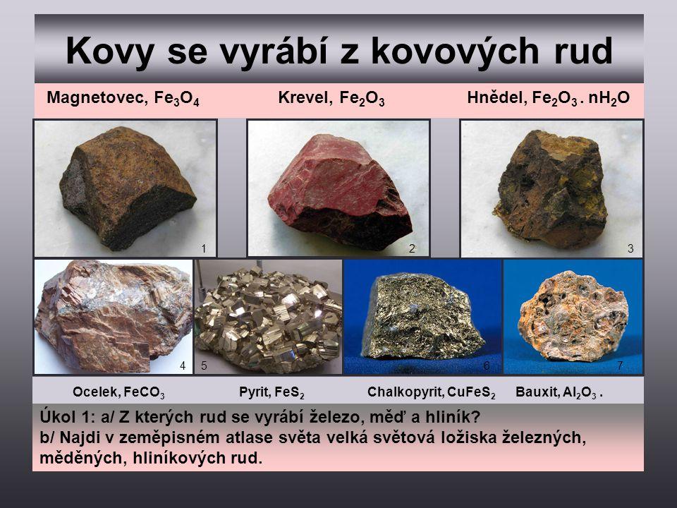 Kovy se vyrábí z kovových rud