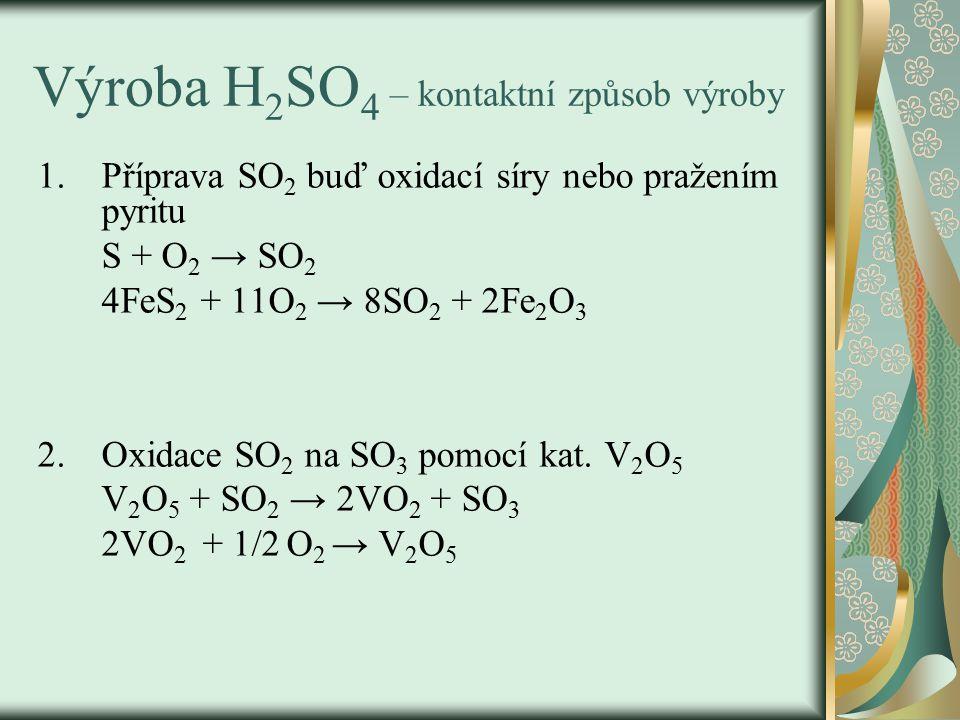 Výroba H2SO4 – kontaktní způsob výroby