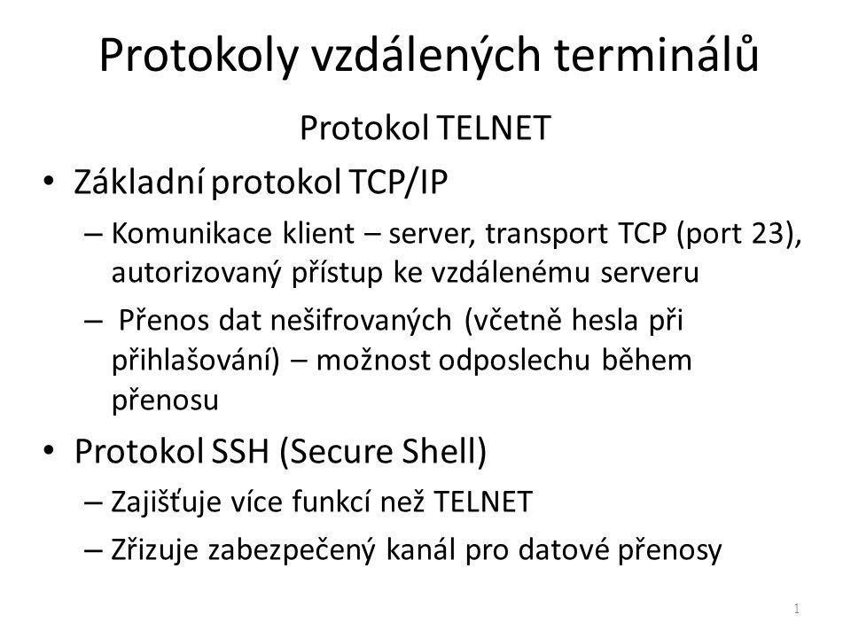 Protokoly vzdálených terminálů