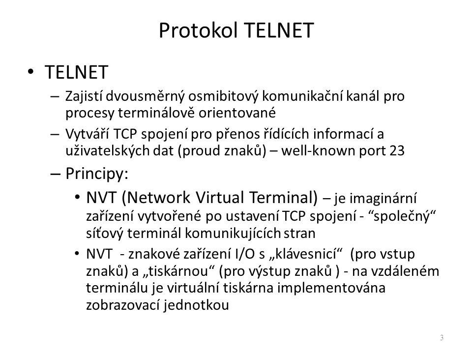 Protokol TELNET TELNET Principy: