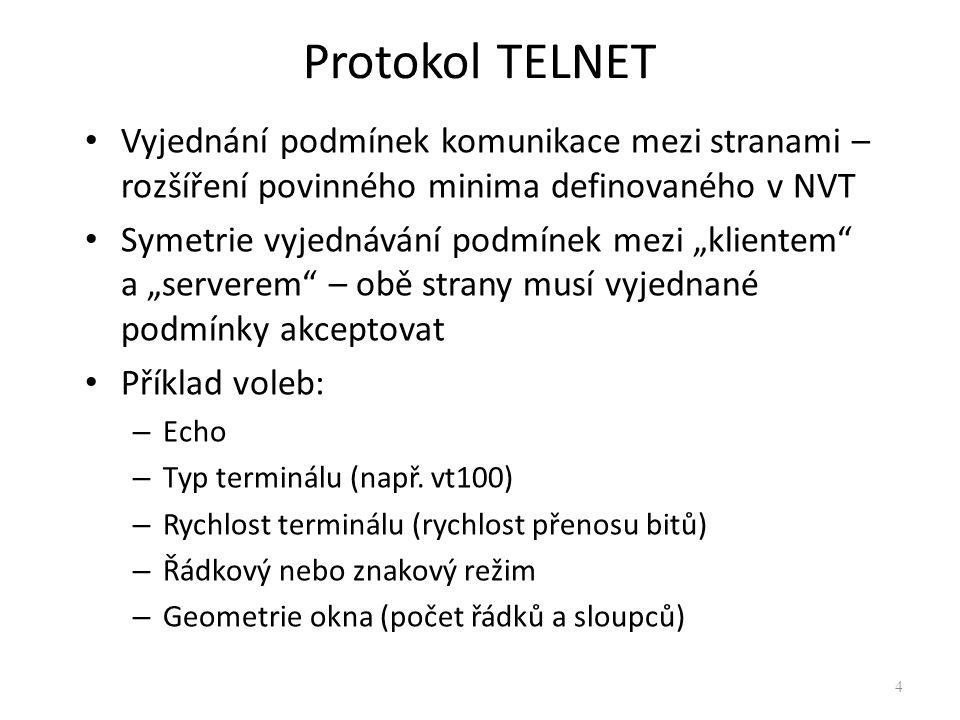 Protokol TELNET Vyjednání podmínek komunikace mezi stranami – rozšíření povinného minima definovaného v NVT.