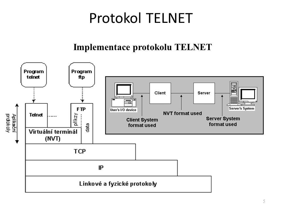 Protokol TELNET Implementace protokolu TELNET
