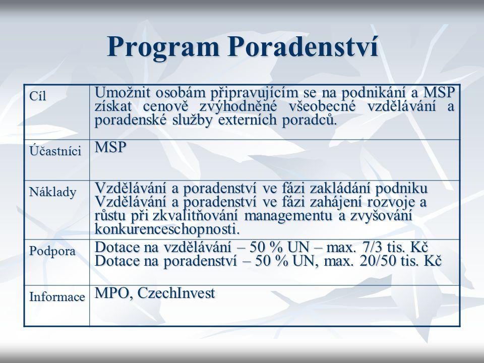 Program Poradenství Cíl.