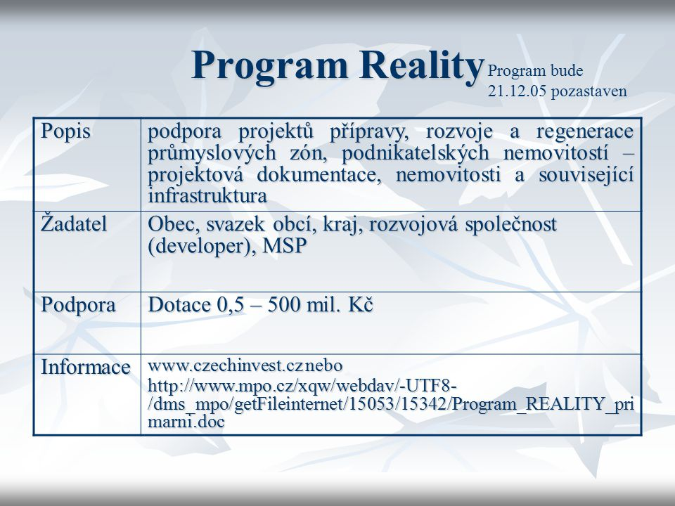 Program Reality Program bude 21.12.05 pozastaven. Popis.