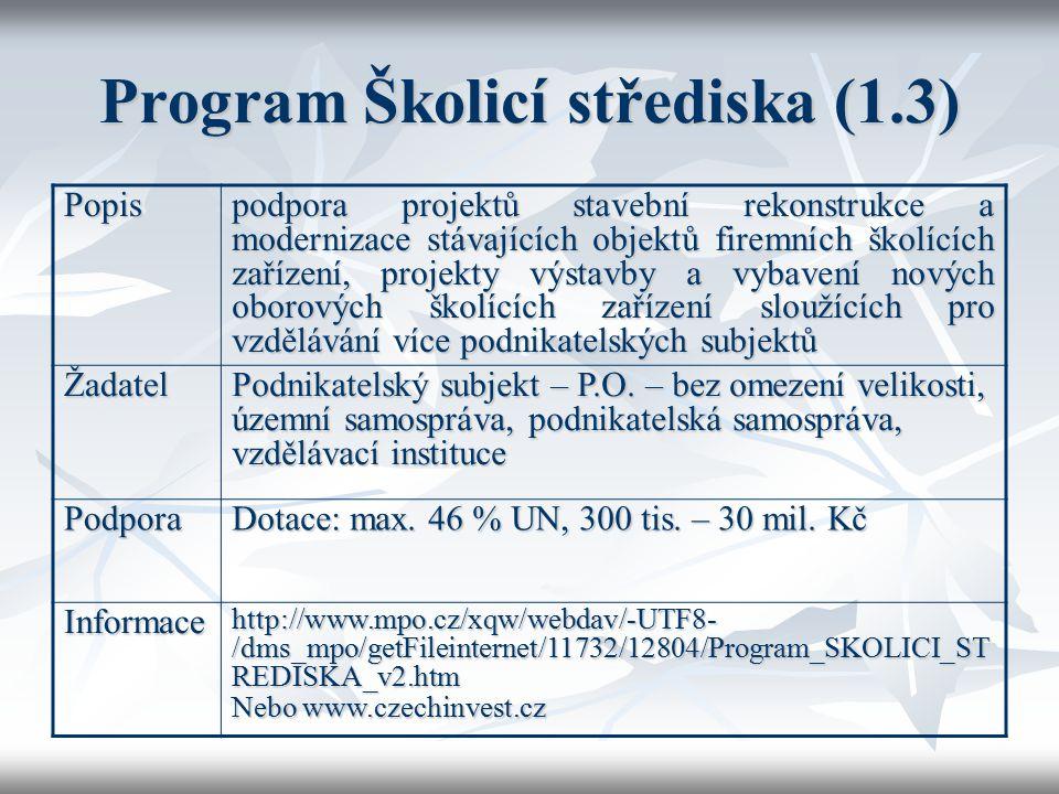 Program Školicí střediska (1.3)