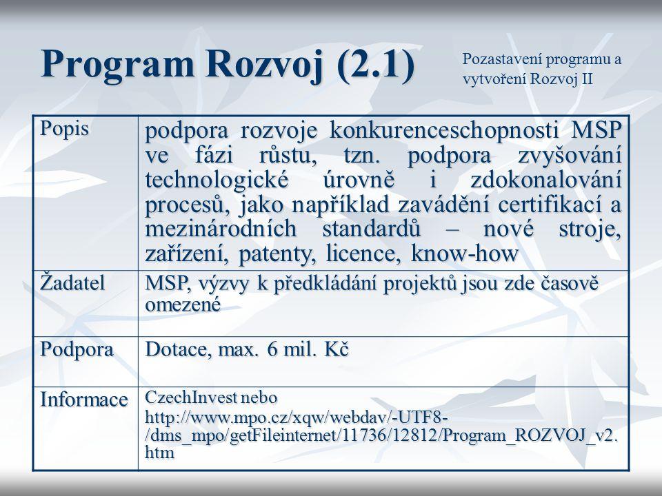 Program Rozvoj (2.1) Pozastavení programu a vytvoření Rozvoj II. Popis.