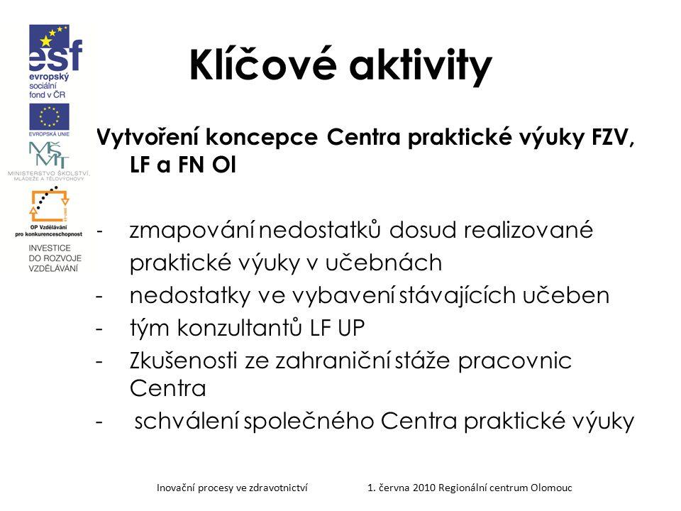 Klíčové aktivity Vytvoření koncepce Centra praktické výuky FZV, LF a FN Ol. zmapování nedostatků dosud realizované.