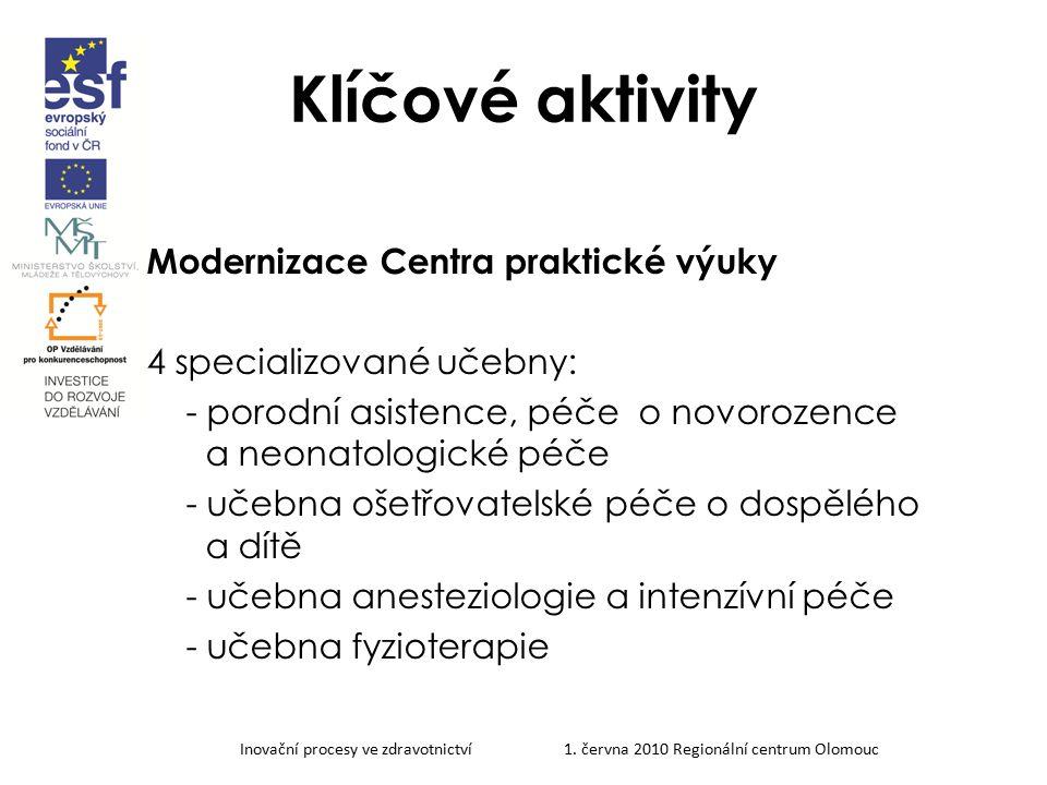 Klíčové aktivity Modernizace Centra praktické výuky