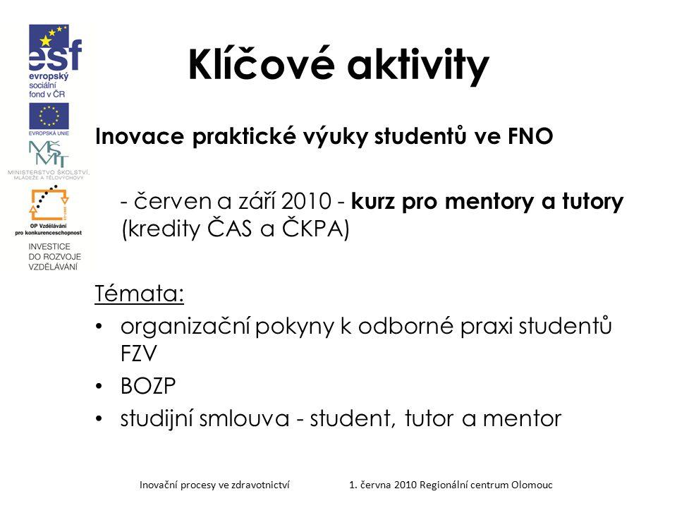 Klíčové aktivity Inovace praktické výuky studentů ve FNO