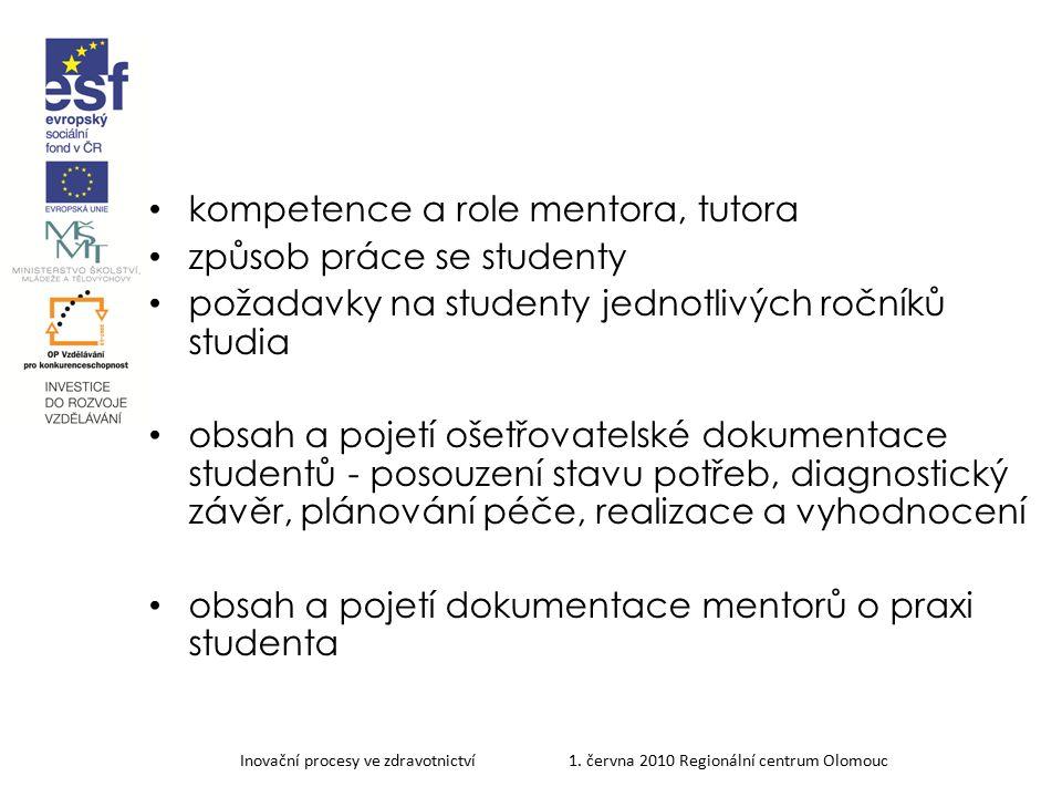 kompetence a role mentora, tutora způsob práce se studenty