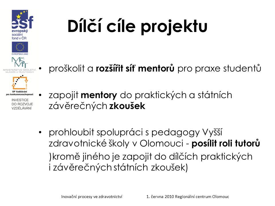 Dílčí cíle projektu proškolit a rozšířit síť mentorů pro praxe studentů. zapojit mentory do praktických a státních závěrečných zkoušek.