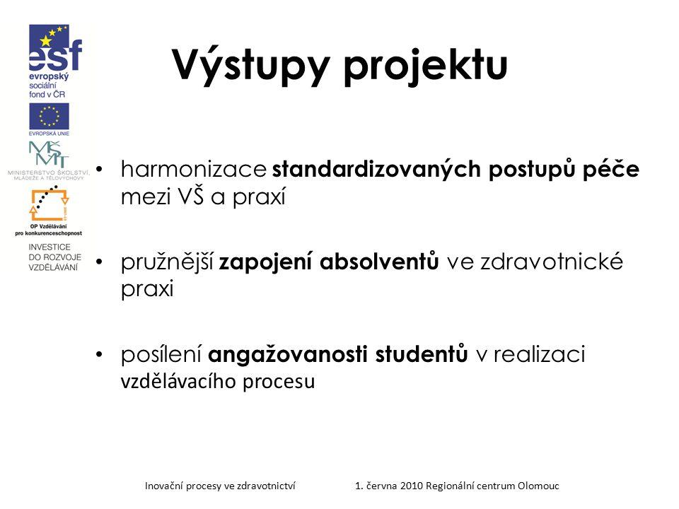 Výstupy projektu harmonizace standardizovaných postupů péče mezi VŠ a praxí. pružnější zapojení absolventů ve zdravotnické praxi.