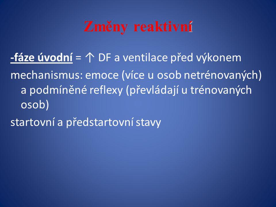 Změny reaktivní -fáze úvodní = ↑ DF a ventilace před výkonem