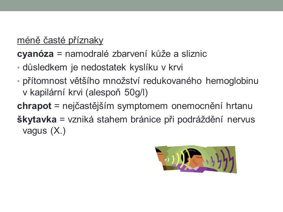 méně časté příznaky cyanóza = namodralé zbarvení kůže a sliznic. důsledkem je nedostatek kyslíku v krvi.