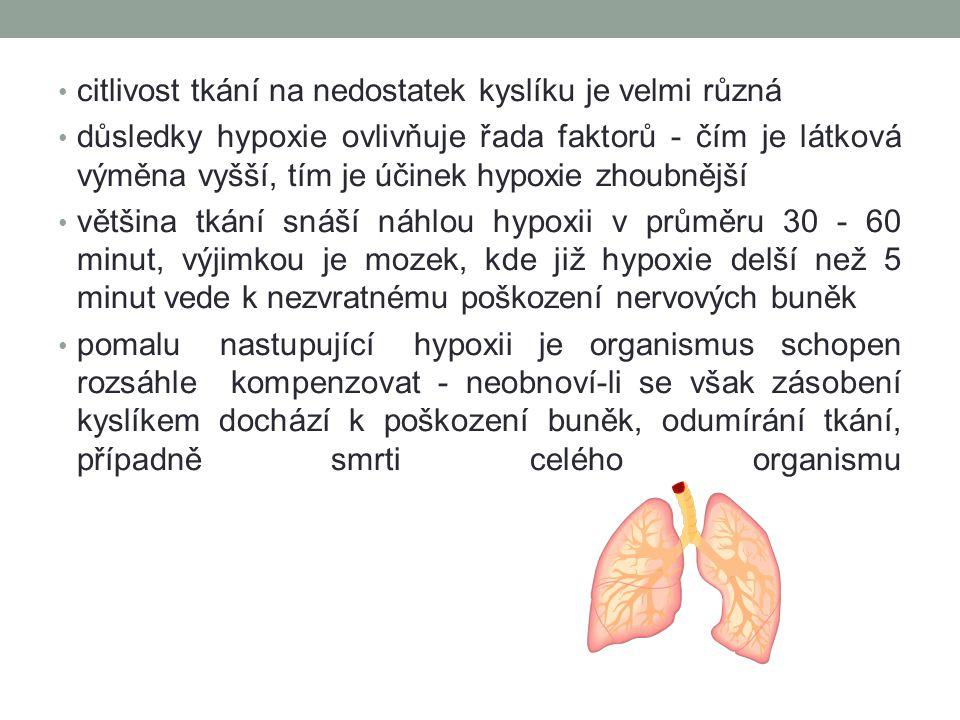 citlivost tkání na nedostatek kyslíku je velmi různá