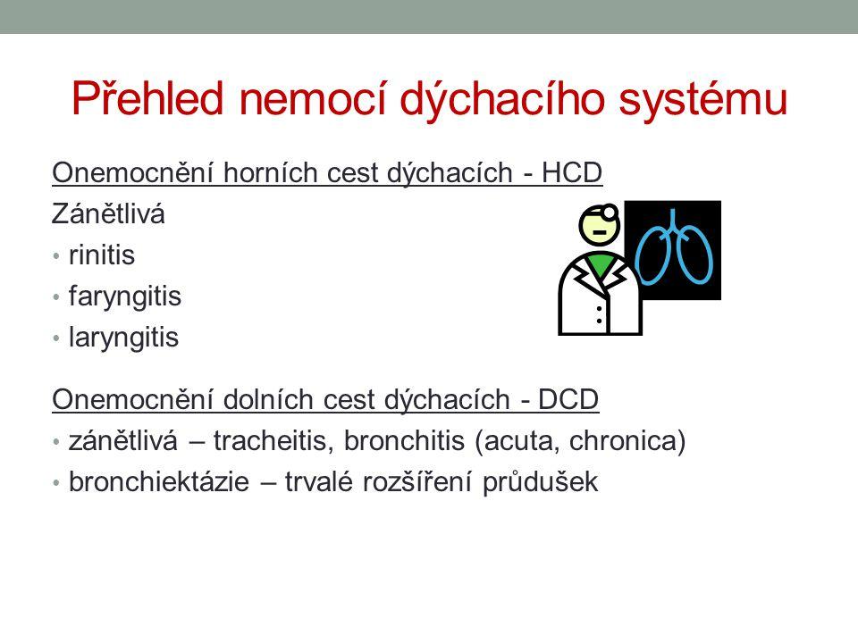 Přehled nemocí dýchacího systému